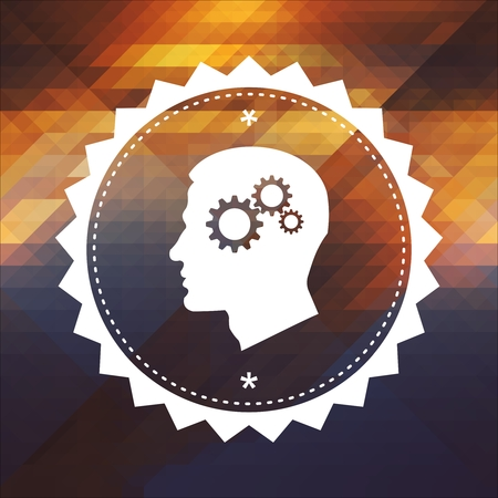 Psychological Concept - Profile of Head with Cogwheel Gear Mechanism. Retro label design. Hipster background made of triangles, color flow effect. photo