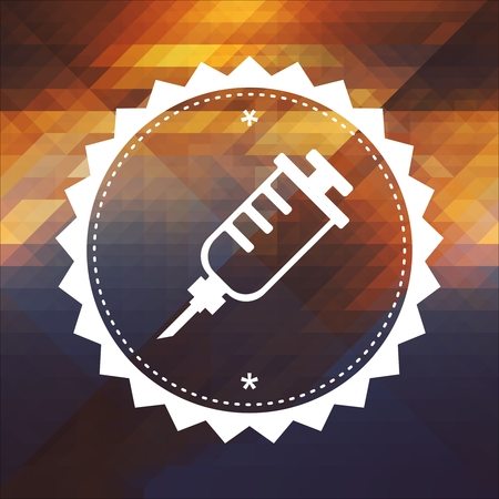 antigenic: Syringe Icon. Retro label design. Hipster background made of triangles, color flow effect.