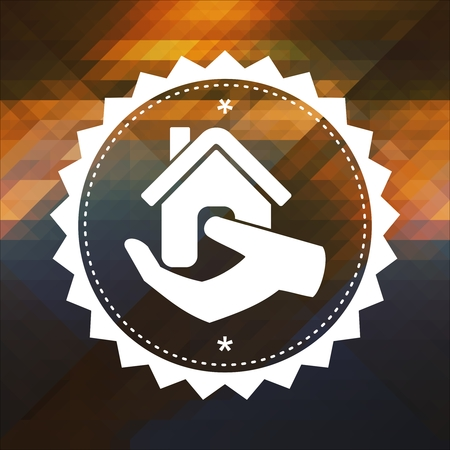 Home in Hand Icon. Retro label design. Hipster background made of triangles, color flow effect. Stock Photo - 26340283