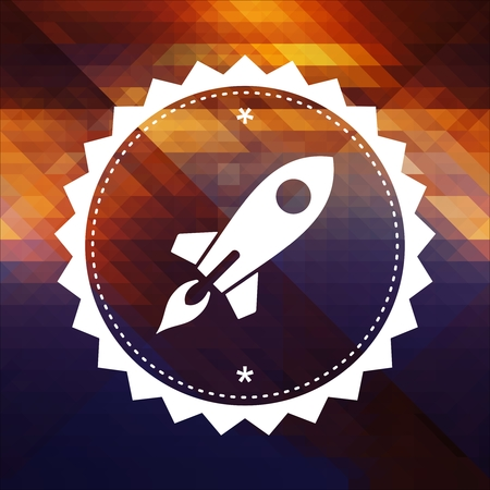 go up: Icon of Go Up Rocket. Retro label design. Hipster background made of triangles, color flow effect.