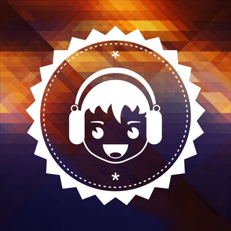 cd label: Boy with Headphones Icon. Retro label design. Hipster background made of triangles, color flow effect. Stock Photo