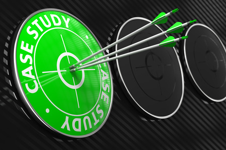 Case Study. Three Arrows Hitting the Center of Green Target on Black Background. photo