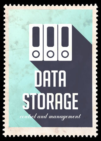 Data Storage on Light Blue Background. Vintage Concept in Flat Design with Long Shadows. photo