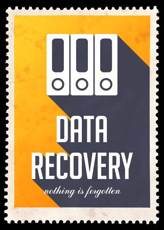 data recovery: Data Recovery on Yellow Background. Vintage Concept in Flat Design with Long Shadows. Stock Photo