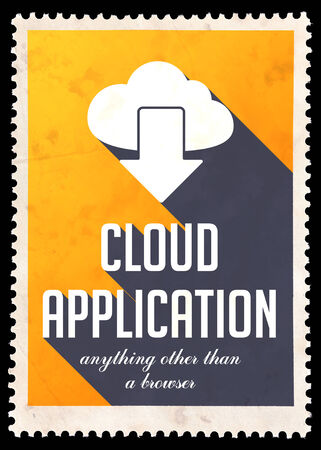 Cloud Application on Yellow Background. Vintage Concept in Flat Design with Long Shadows. photo