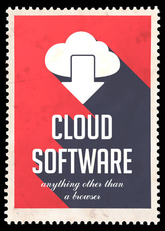 avail: Cloud Software on Red Background. Vintage Concept in Flat Design with Long Shadows.