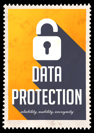 Data Protection on Yellow Background. Vintage Concept in Flat Design with Long Shadows. photo