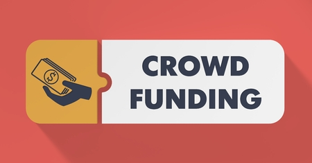 Crowd Funding Concept in Flat Design with Long Shadows. photo