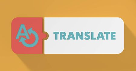 translating: Translate Concept in Flat Design with Long Shadows.