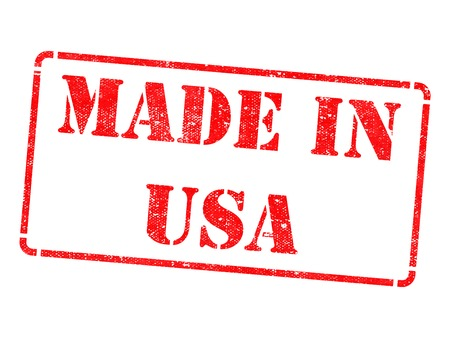 red stamp: Made in USA - Inscription on Red Rubber Stamp Isolated on White. Stock Photo