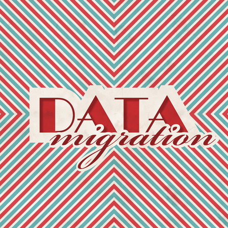 Data Migration Concept on Red and Blue Striped Background. Vintage Concept in Flat Design. photo