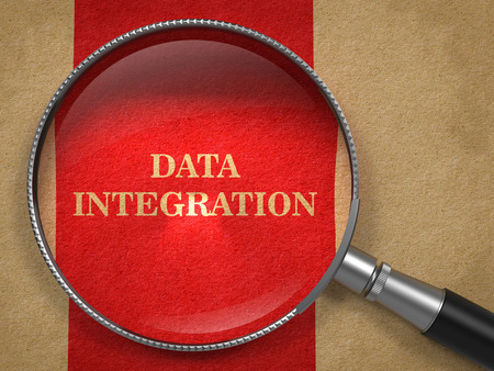 Data Integration concept. Magnifying Glass on Old Paper with Red Vertical Line Background. photo