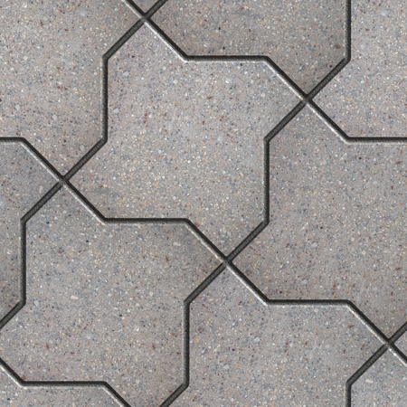 figured: Gray Figured Pavement as Bending Square. Seamless Tileable Texture. Stock Photo