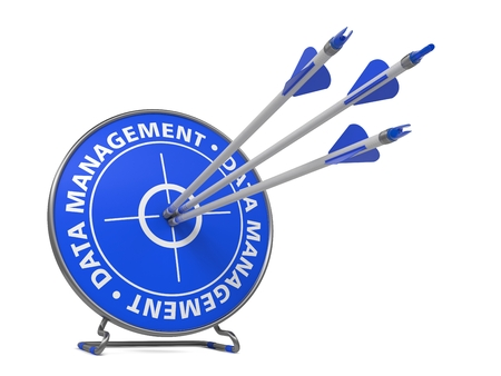 systematization: Data Management Concept. Three Arrows Hit in Blue Target. Stock Photo