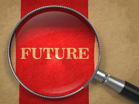 Future concept. Magnifying Glass on Old Paper with Red Vertical Line Background. Stock Photo