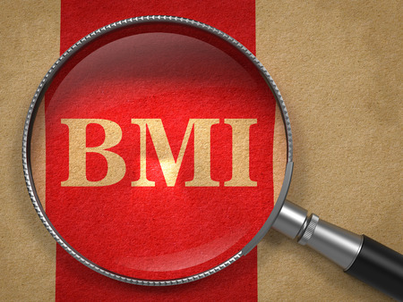 bmi: BMI concept. Magnifying Glass on Old Paper with Red Vertical Line Background.