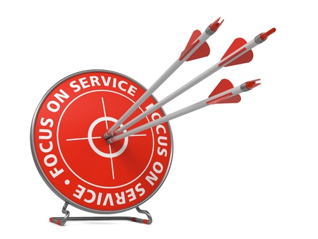 attentiveness: Focus on Service Slogan. Three Arrows Hit in Blue Target.