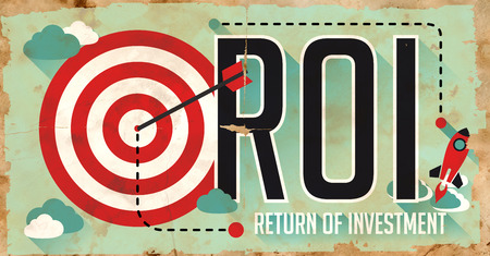 profitability: ROI Concept. Poster on Old Paper in Flat Design with Long Shadows.