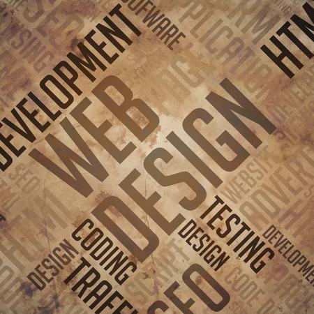 fulvous: Web Design. Grunge Brown Wordcloud.
