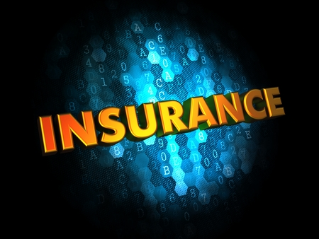 Insurance - Golden Color Text on Dark Blue Digital Background. photo