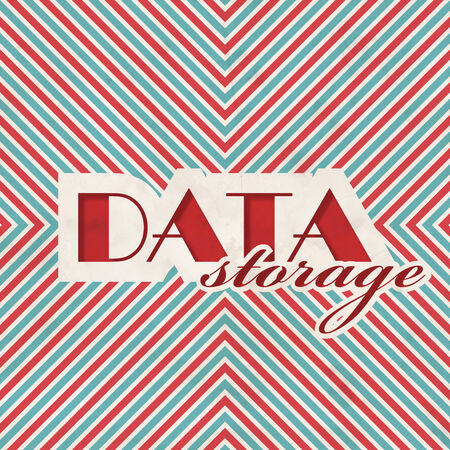 Data Storage Concept on Red and Blue Striped Background. Vintage Concept in Flat Design. photo