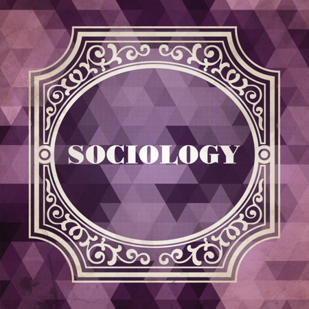 sociological: Sociology Concept. Vintage design. Purple Background made of Triangles.