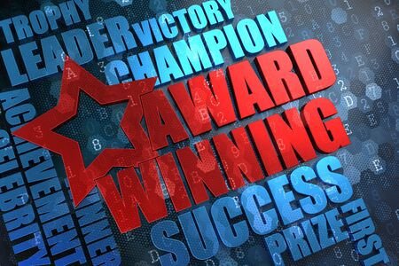 award winning: Award Winning - Red Main Word with Blue Wordcloud on Digital Background.