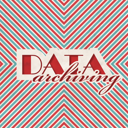 data archiving: Data Archiving Concept on Red and Blue Striped Background. Vintage Concept in Flat Design. Stock Photo