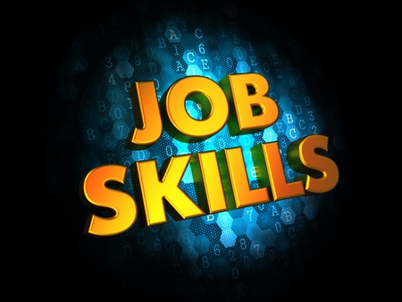 Job Skills Concept - Golden Color Text on Dark Blue Digital Background. photo