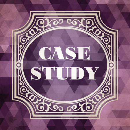 situational: Case Study Concept. Vintage design. Purple Background made of Triangles. Stock Photo
