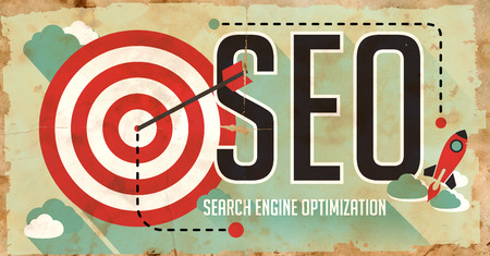 SEO Concept. Poster on Old Paper in Flat Design with Long Shadows.