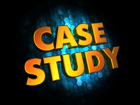 Case Study Concept - Golden Color Text on Dark Blue Digital Background. photo