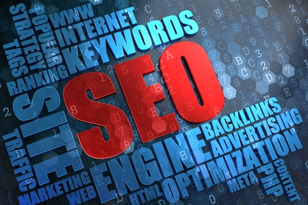 keywords: SEO - Red Main Word with Blue Wordcloud on Digital Background. Stock Photo