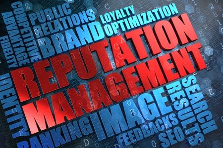 Reputation Management - Rood Hoofd Woord met Blue word cloud op digitale achtergrond.
