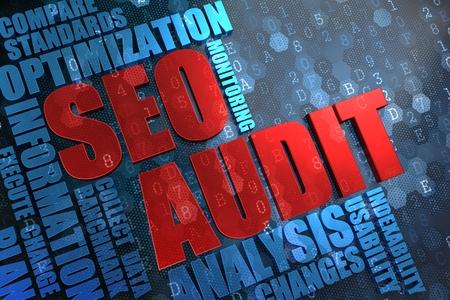 auditor�a: Auditor�a SEO - Red Palabra Principal con Blue Wordcloud en el fondo digital.