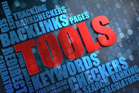 linkbuilding: Tools - Red Main Word with Blue Wordcloud on Digital Background.