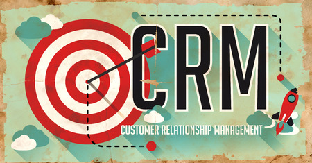crm: CRM Concept. Poster on Old Paper in Flat Design with Long Shadows.