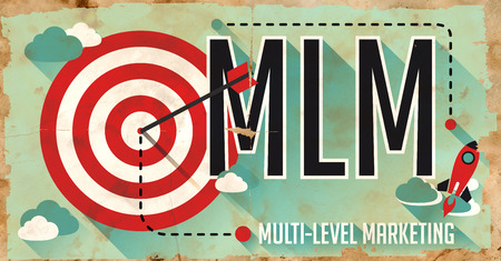 mlm: MLM Concept. Poster on Old Paper in Flat Design with Long Shadows.