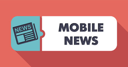 Mobile News Concept on Scarlet in Flat Design with Long Shadows. photo