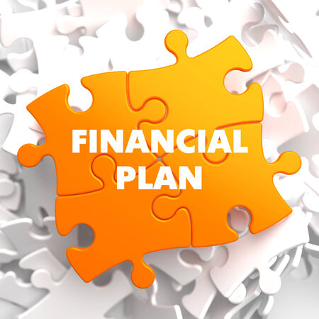 taxes budgeting: Financial Plan on Orange Puzzle on White Background.