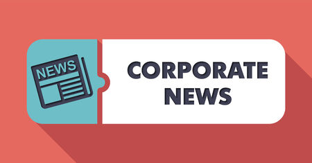 domestic policy: Corporate News Concept on Scarlet in Flat Design with Long Shadows.