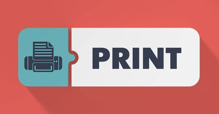 Print Concept in Flat Design with Long Shadows. photo