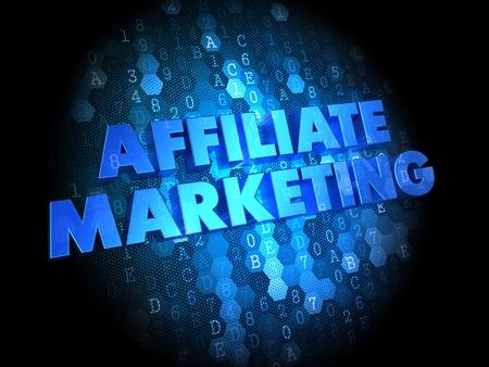 Affiliate Marketing Concept - Blue Color Text on Dark Digital Background. photo