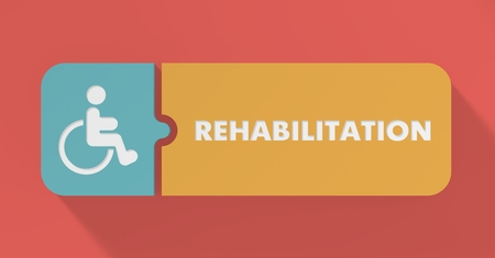 physiotherapist: Rehabilitation Concept in Flat Design with Long Shadows.