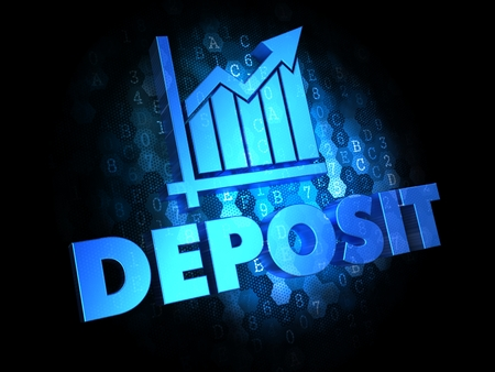 stockpiling: Deposit Concept - Blue Color Text on Dark Digital Background. Stock Photo