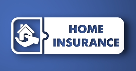 Home Insurance Concept. White Button on Blue Background in Flat Design Style. Stock Photo - 27085076