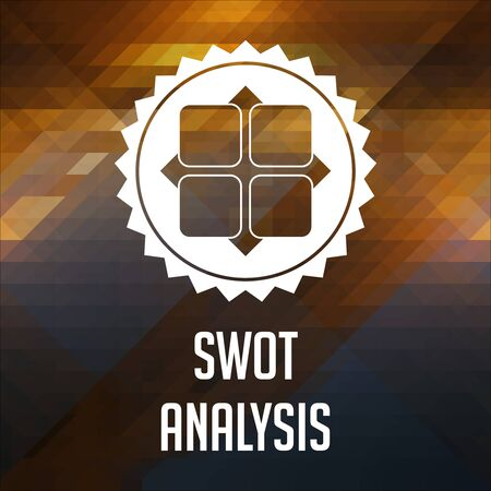 SWOT Analysis Concept. Retro label design. Hipster background made of triangles, color flow effect. photo