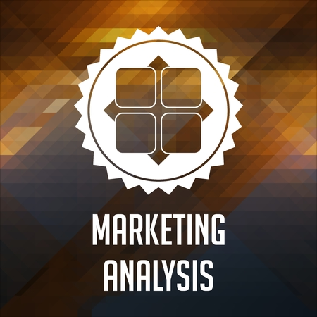 Marketing Analysis Concept. Retro label design. Hipster background made of triangles, color flow effect. photo