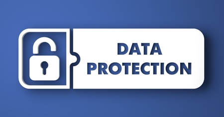 Data Protection Concept. White Button on Blue Background in Flat Design Style. Stock Photo