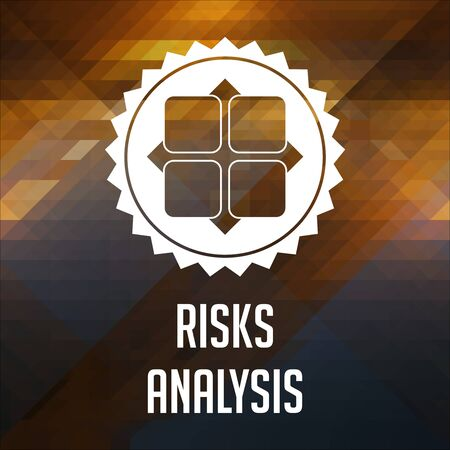 Risk Analysis Concept. Retro label design. Hipster background made of triangles, color flow effect. photo